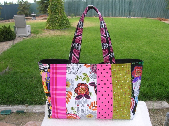 Patchwork Tote With Skulls