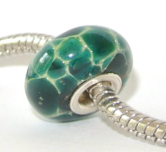 Big Hole Lampwork Glass Bead for Troll, Biagi and ALL other European Charm Bracelets - Silver and Green Shamrock BHB