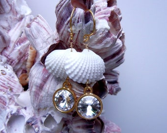 Seashell Crystal Earrings - Mermaids Rivoli Crystal Seashell Earrings