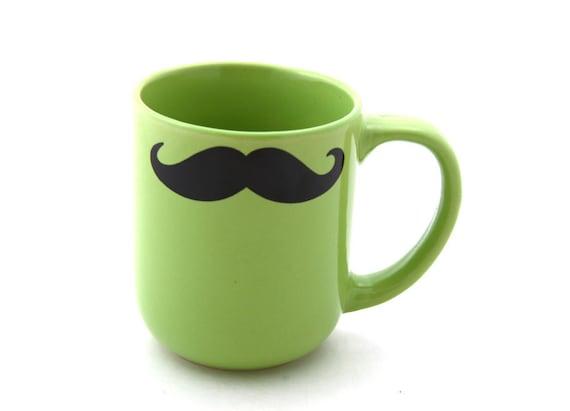 Mustache mug moustache mug double sided in chartreuse green kiln fired