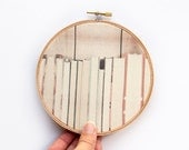 The Book Collection Fabric Art - 5 inch hoop - Modern Wall Hanging - Hoop Art - Dorm Decor Back to School - Photograph on Fabric - Library
