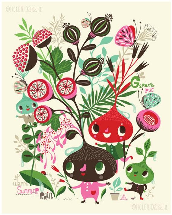 Gardens Love Warm Summer Rain - limited edition giclee print of an original illustration (8 x 10 in)