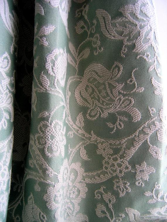 Reserved - Upholstery fabric yardage - 3 yards dusty green jacquard - pillow fabric - Italian woven - decorator goods