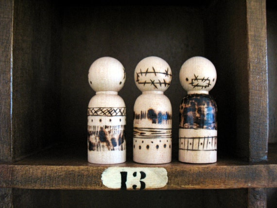 Handmade wooden folk art  peg dolls ...  hear no see no speak no evil