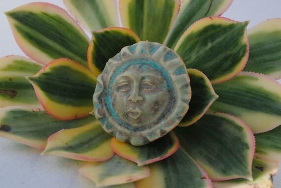 ceramic cabochon face cab little clay mask miniature cameo turquoise blue