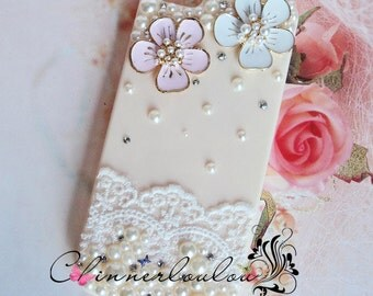 Cherry Blossom Apple Iphone 5,6, 7, and SE case, crystal pearl with romantic lace trim