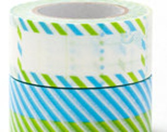 Colte Washi Masking Tape - Blue & Green Stripes - Wide - single roll