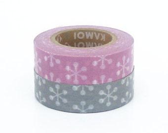 mt Washi Masking Tape - Mauve & Grey Snowflake - Set 2 (15m rolls)