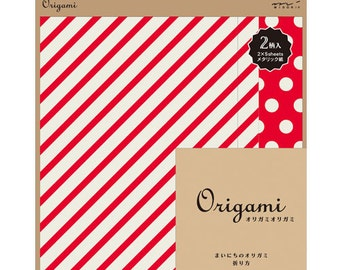 Japanese Origami Paper 15cm (6 inches) - Metallic Stripes & Dots