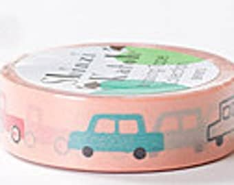 Shinzi Katoh Masking Tape - Cars on Peach