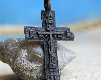 antique or vintage cross, probably XIXth cent, jewelry, religion curcifix, faith christianity, coolvintage, metal patina cross, x 307