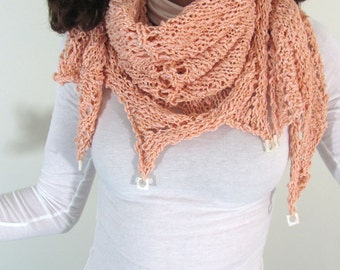 Orange Peach Cantaloupe Hand Knit Triangle Wrap Shawl with Circle in Square Shell Beads