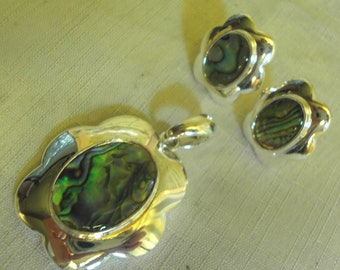 GORGEOUS - ABALONE Pendant and Pierced Earrings Set