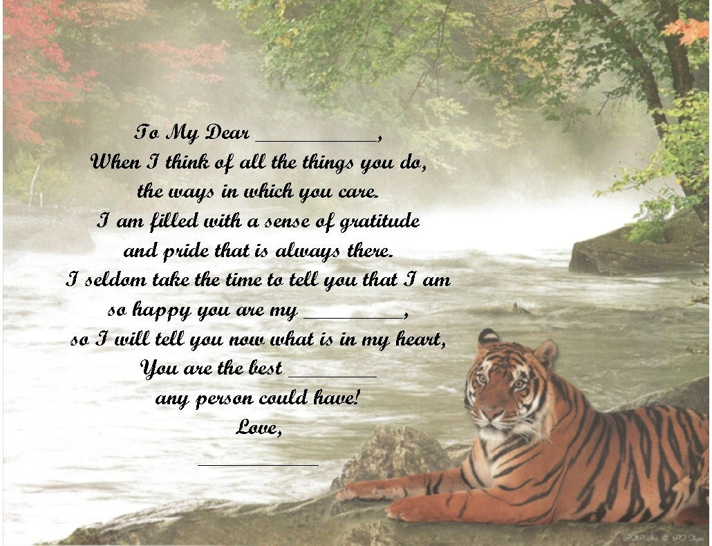 Personalized Poem Tiger Print Over 50 Name Styles Available