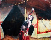 Belly Dancer, Gypsy, Circus Tent,  8 x 10,  Archival Print, Vaudeville, Red, Yellow, Carnival, Wall Decor
