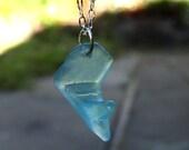Aqua Blue Sea Glass Necklace Rare Design Natures Way