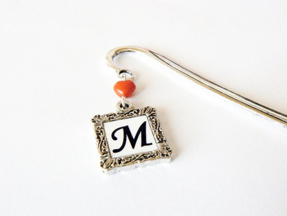Personalized Initial Bookmark. Father's Day. Silver. Made to order. Affordable, unisex gift. Reader, book lover. Cheap and chic.