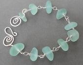 Silver Spiral Seaglass Bracelet