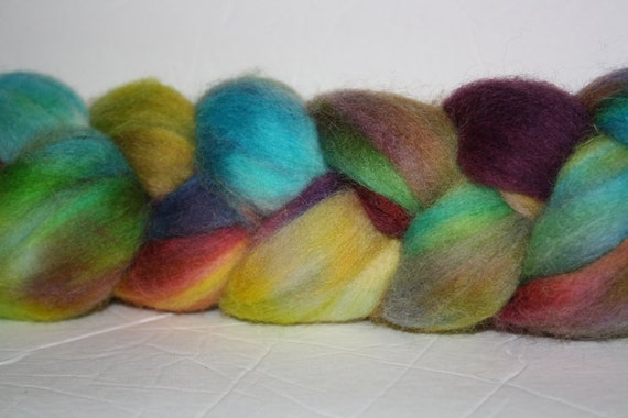 Hand Painted  Corriedale Roving for Spinning and Tie Dye Two