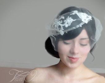 Bridal bandeau veil, lace headpiece, bridal veil, bridal veil set, mini tulle veil, bandeau lace veil, custom veil, lace veil,