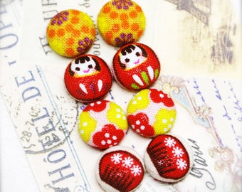 """Spring in Japan- fabric covered button ear studs, set of 4 -  1/2"""", 12mm (BS)"""