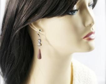 Plum bling earrings - aventurine and freshwater pearl