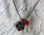 Beautiful Black and SIlver Rose Pendant with Red Swarovski Heart Crystal Necklace