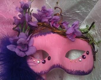 Fantasy, Cosplay Mask, Woodland, Pink Blossom, Mardi Gras Masquerade Mask