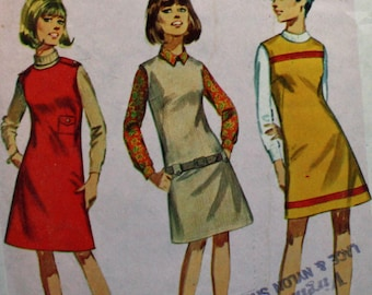 """Vintage 1960s Sewing Pattern, Simplicity 7217, Junior Size 9, Jumper in 2 Lengths, """"A How To Sew Pattern"""""""