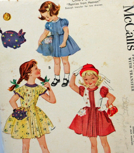 Vintage 1950s, Sewing Pattern, McCall's 1819, Dress, Girls' Size 4
