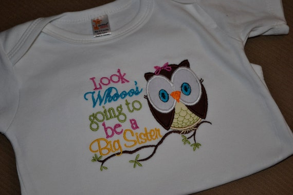 Look Whoo's Going to be a big Sister Shirt / Big Brother