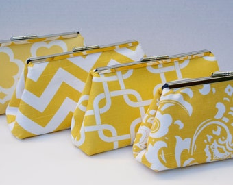 Yellow Bridesmaids Gift Handbag Clutch for Bridal Party Gift- Design your Own