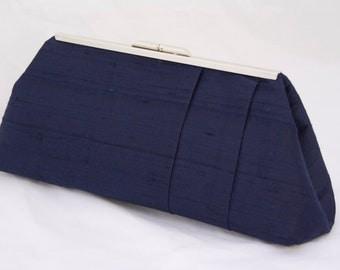 Navy Silk Wedding Handbag Clutch For Bride or Wedding Party in Navy Silk Dupioni - design your own in any color