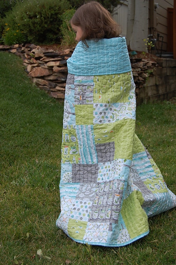 Backyard Baby Patchwork Lap Quilt  Scrap Quilt  47 x 59 - ready to SHIP - Boy Quilt