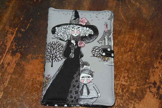 HALLOWEEN Kindle Cover Case Nook Cover eReader Cover Padded  Book Style Cover - Ghastlies fabric ONLY one