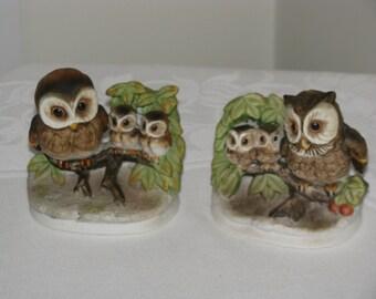 Vintage Homco  Set of 2 Owl Figurines