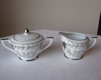 Lefton 25th Silver Anniversary Sugar Bowl And Creamer