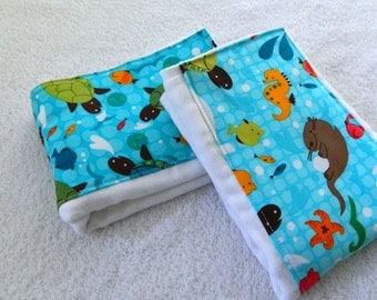 Burp Cloths - Sea Animal Burp cloths - Sea Turtle Burp Cloth - Dipaer Burp Cloths set of 2