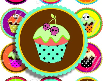 Halloween cupcakes in large circles for pocket mirrors and more -digital collage sheet no. 1003