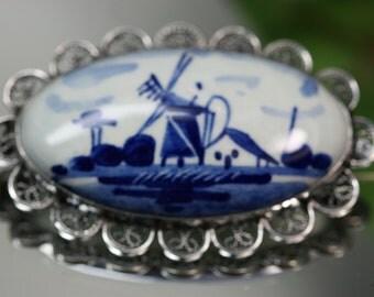 Vintage Silver Filigree and Porcelain Brooch - Delft