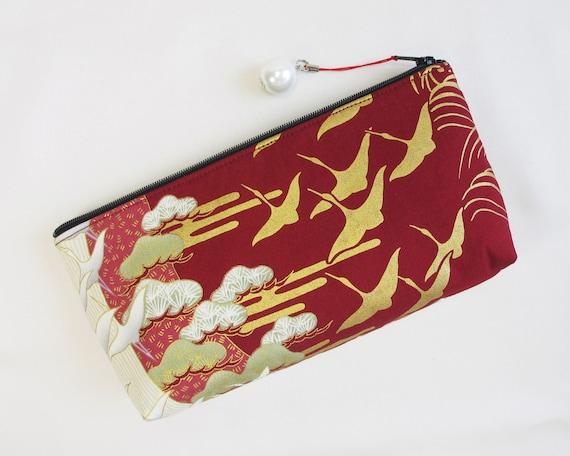 SALE - Crane Flock Zipper Pouch / Clutch Bag