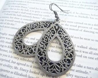 Silver and Black Teardrop Earrings