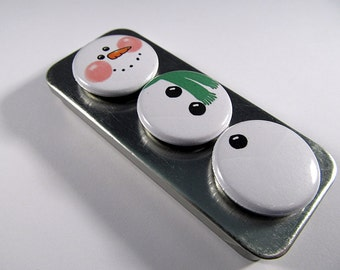 Snowman Magnets Set 3 / Christmas / Magnet Trio / Winter Trio