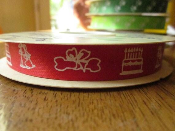"DESTASH Dog Birthday Ribbon - Red with White Dog, Bone, and Cake - 9/16"" by 50 yards"