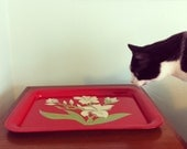 1950s Red Floral Metal Serving Tray