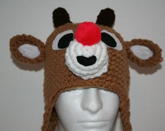 Red nosed reindeer hat  - a one of a kind handmade hat - warm fun and unique