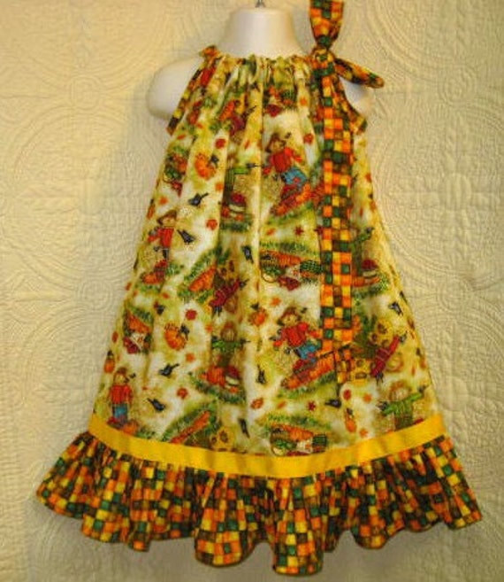 Fall Scarecrow Boutique Pillowcase Girls Dress Size Fits 5 to 6