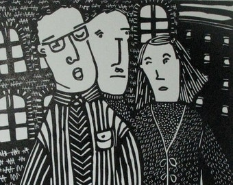 Linocut Print - Me and Jill....and Jim