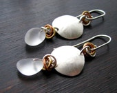 SALE 50 PERC.OFF Rustic silver earrings with frosted clear quartz pebbles
