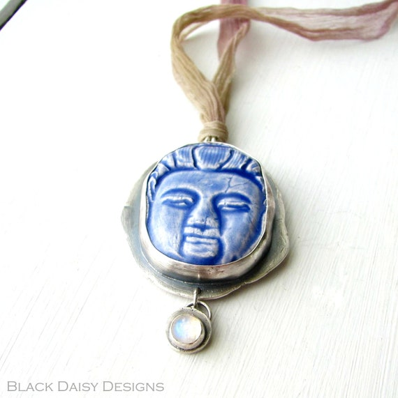 Sterling silver and blue ceramic Buddha necklace